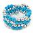 Light Blue Ceramic & Worn Silver Tone Acrylic Bead Coiled Flex Bracelet - Adjustable - view 7