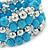 Light Blue Ceramic & Worn Silver Tone Acrylic Bead Coiled Flex Bracelet - Adjustable - view 5