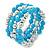 Light Blue Ceramic & Worn Silver Tone Acrylic Bead Coiled Flex Bracelet - Adjustable - view 4