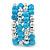 Light Blue Ceramic & Worn Silver Tone Acrylic Bead Coiled Flex Bracelet - Adjustable - view 6