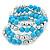 Light Blue Ceramic & Worn Silver Tone Acrylic Bead Coiled Flex Bracelet - Adjustable - view 8
