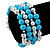 Light Blue Ceramic & Worn Silver Tone Acrylic Bead Coiled Flex Bracelet - Adjustable