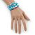 Light Blue Ceramic & Worn Silver Tone Acrylic Bead Coiled Flex Bracelet - Adjustable - view 2