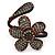 Dark Cappuccino Flower Copper Wire Flex Bracelet - view 2