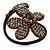 Dark Cappuccino Flower Copper Wire Flex Bracelet - view 7