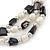 3 Strand Freshwater Pearl, Slate Black Shell Nugget Flex Bracelet - 20cm L - view 5