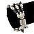 3 Strand Freshwater Pearl, Slate Black Shell Nugget Flex Bracelet - 20cm L - view 3