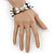 3 Strand Freshwater Pearl, Slate Black Shell Nugget Flex Bracelet - 20cm L - view 4