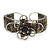 Fancy Glass Peacock Bead Floral Cuff Bracelet In Silver Tone - Adjustable - view 8