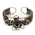 Fancy Glass Peacock Bead Floral Cuff Bracelet In Silver Tone - Adjustable - view 9
