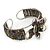 Fancy Glass Peacock Bead Floral Cuff Bracelet In Silver Tone - Adjustable - view 10