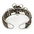 Fancy Glass Peacock Bead Floral Cuff Bracelet In Silver Tone - Adjustable - view 5