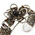 Fancy Glass Peacock Bead Floral Cuff Bracelet In Silver Tone - Adjustable - view 6