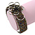Fancy Glass Peacock Bead Floral Cuff Bracelet In Silver Tone - Adjustable - view 7