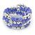 Lavender Ceramic & Silver Tone Acrylic Bead Coiled Flex Bracelet - Adjustable - view 7