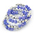 Lavender Ceramic & Silver Tone Acrylic Bead Coiled Flex Bracelet - Adjustable - view 5