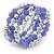 Lavender Ceramic & Silver Tone Acrylic Bead Coiled Flex Bracelet - Adjustable - view 6