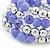 Lavender Ceramic & Silver Tone Acrylic Bead Coiled Flex Bracelet - Adjustable - view 4