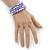 Lavender Ceramic & Silver Tone Acrylic Bead Coiled Flex Bracelet - Adjustable - view 3