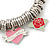 PINK COOKIE IN PURSE Hearts, Rose, Swallow Charm Round Link Flex Bracelet In Rhodium Plating - 17cm L (For Small Wrist) - view 6