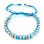 Plaited Light Blue Silk Cord With Silver Tone Bead Friendship Bracelet - Adjustable