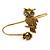 Gold Tone Topaz, Citrine Crystal Owl Palm Bracelet - Up to 19cm L/ Adjustable