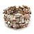 Wide Antique White Shell Nugget Multistrand Flex Bracelet - Adjustable