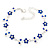 Rhodium Plated Sapphire Blue Crystal Daisy Bracelet - 16cm Length/ 5cm Extension - view 1