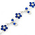 Rhodium Plated Sapphire Blue Crystal Daisy Bracelet - 16cm Length/ 5cm Extension - view 3