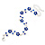 Rhodium Plated Sapphire Blue Crystal Daisy Bracelet - 16cm Length/ 5cm Extension - view 2