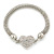 Silver Tone Mesh Bracelet With Crystal Heart Magnetic Closure - 17cm Length