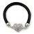 Black Rubber Bracelet With Crystal Heart Magnetic Closure - 17cm L - For small wrist - view 6