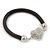 Black Rubber Bracelet With Crystal Heart Magnetic Closure - 17cm L - For small wrist - view 4