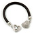 Black Rubber Bracelet With Crystal Heart Magnetic Closure - 17cm L - For small wrist - view 3