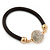 Black Rubber Bracelet With Crystal Button Magnetic Closure In Gold Tone - 17cm L - For small wrist - view 5