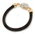 Black Rubber Bracelet With Crystal Button Magnetic Closure In Gold Tone - 17cm L - For small wrist - view 4