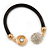 Black Rubber Bracelet With Crystal Button Magnetic Closure In Gold Tone - 17cm L - For small wrist - view 3
