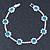Teal Blue/ Clear Swarovski Crystal Floral Bracelet In Rhodium Plated Metal - 17cm L - view 7