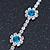 Teal Blue/ Clear Swarovski Crystal Floral Bracelet In Rhodium Plated Metal - 17cm L - view 10