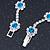 Teal Blue/ Clear Swarovski Crystal Floral Bracelet In Rhodium Plated Metal - 17cm L - view 4