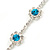 Teal Blue/ Clear Swarovski Crystal Floral Bracelet In Rhodium Plated Metal - 17cm L - view 6