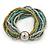 Silver/ Grey/ Olive/ Green Multistrand Glass Bead Flex Bracelet With A Silver Mirrored Ball - 19cm L