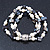 3 Strand Freshwater Pearl, Slate Black Shell Nugget Flex Bracelet - 20cm L - view 7