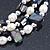 3 Strand Freshwater Pearl, Slate Black Shell Nugget Flex Bracelet - 20cm L - view 8
