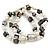 3 Strand Freshwater Pearl, Slate Black Shell Nugget Flex Bracelet - 20cm L - view 9