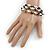 3 Strand Freshwater Pearl, Slate Black Shell Nugget Flex Bracelet - 20cm L - view 2