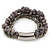 Multistrand Grey Semiprecious Stone, Metallic Silver Glass Bead Flex Bracelet - 19cm L - view 7