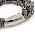Multistrand Grey Semiprecious Stone, Metallic Silver Glass Bead Flex Bracelet - 19cm L - view 6