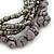 Multistrand Grey Semiprecious Stone, Metallic Silver Glass Bead Flex Bracelet - 19cm L - view 4