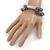 Multistrand Grey Semiprecious Stone, Metallic Silver Glass Bead Flex Bracelet - 19cm L - view 3